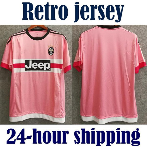 c119e9393ac 2015 2016 retro Juventus Juven soccer jersey pink Serie A champions thai  quality custom POGBA 6