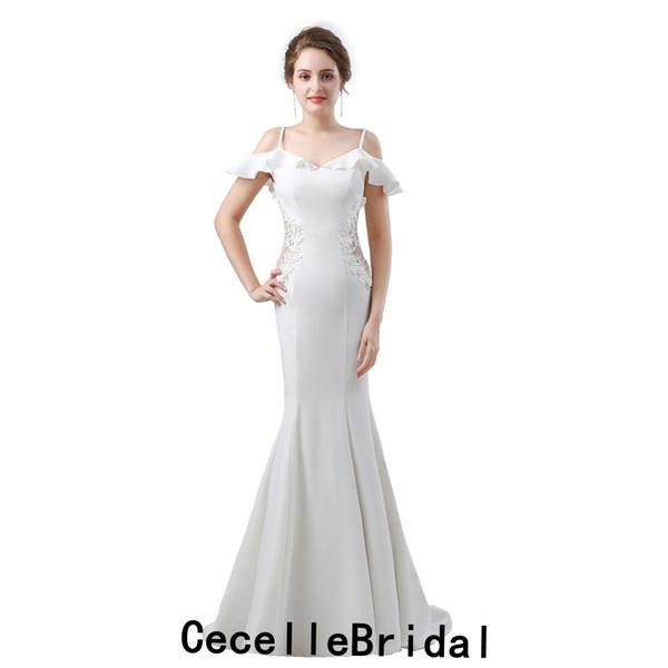 2019 Nueva sirena fuera del hombro Vestido de novia largo y sencillo Vestido informal de recepción en crepé Para las novias Sexy Cintura pura Vestido de novia Boho