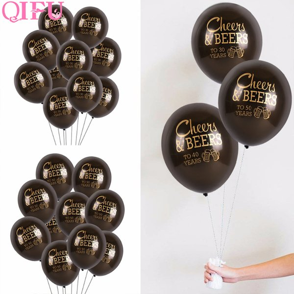 QIFU 10pcs Happy Birthday Party Decorations Adult Balloon Air 30 40 50 Years Latex Balloons Birthday Anniversary Party Decortion