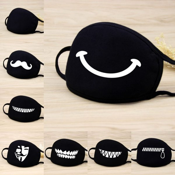 Cotton Face Masks Unisex Black Cute Cartoon Anti Dust Face Mouth Mask Individualistic Pattern for Women Men