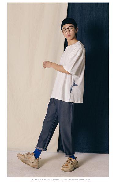 T-shirt manica corta da uomo Bottom Shirt Summer Pure Cotton Whale Loose Fashion Half Sleeve Girocollo T-shirt Tide