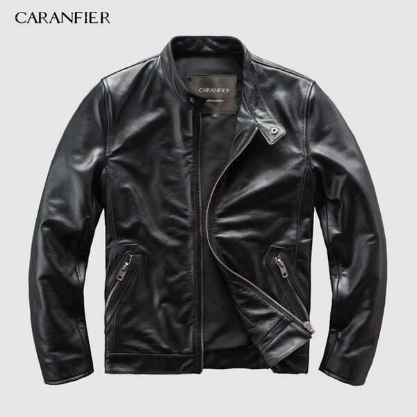 CARANFEIR Brand Vintage Genuine Leather Jacket Mens 100% Cowhide New Style Clothes Motor Biker Leather Jacket DHL Free Shipping