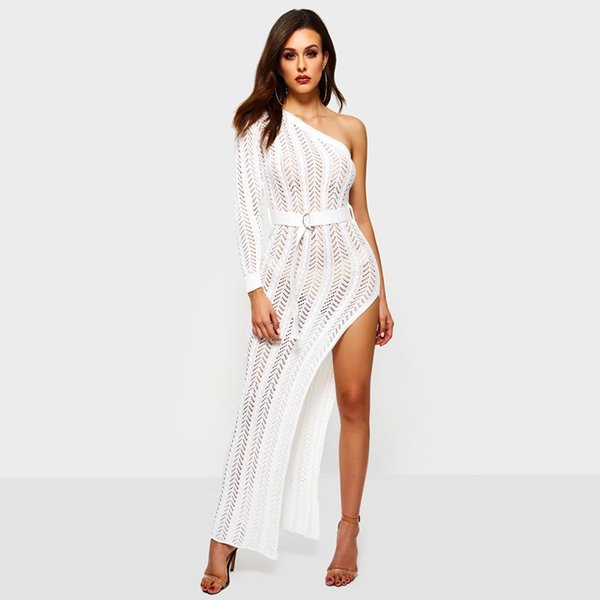 White Long Knitted Dress Elegant See Though Sexy One Shoulder Split Hollow Out High Waist Stretch Slim Spring Party Maxi Dresses