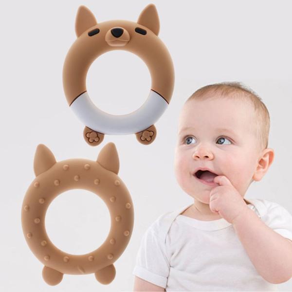 Mordedor bebê mordedor dos desenhos animados Argola de Dentição Bracelet Bangle Silicone DIY Colar Pingente Grade BPA seguro bonito do bebê