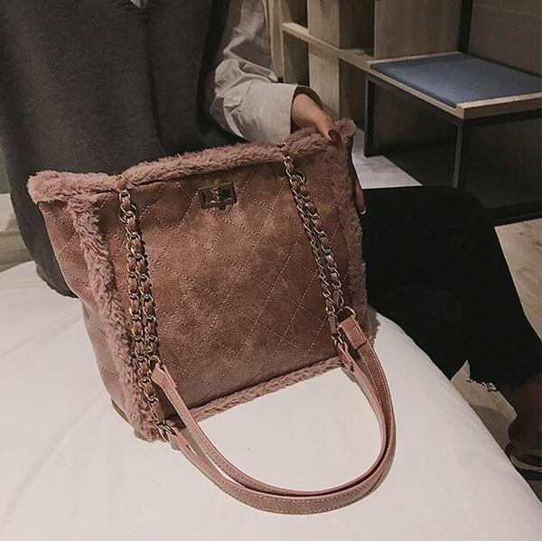 Wholesale brand women handbag winter new plush shoulder bag simple large capacity diamond chain bag fashion diamond leather shoulder bag