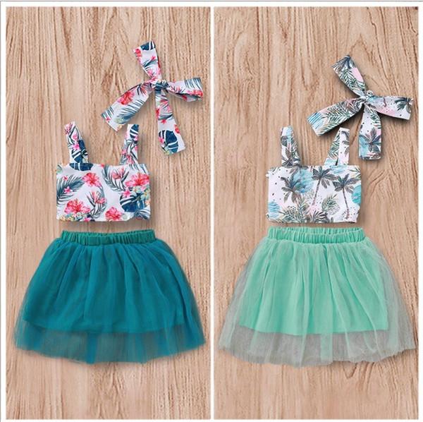 Fashion Girls Leaves Bretelle + Gonne Tutu Set Estate 2019 Abbigliamento per bambini Boutique 1-4T Little Girls Gauze Gonne 3 abiti per PC