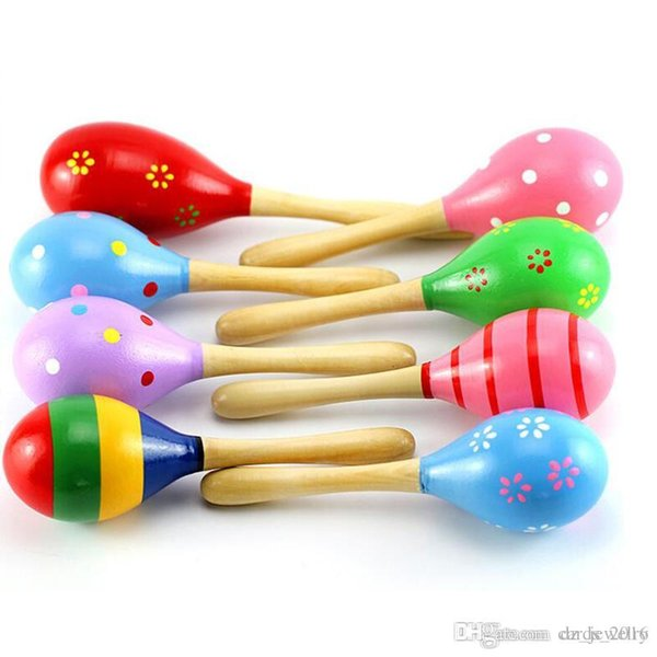 2018 Baby Wooden Toy Rattle Baby cute Rattle toys Orff musical instruments Educational Toys free shipping