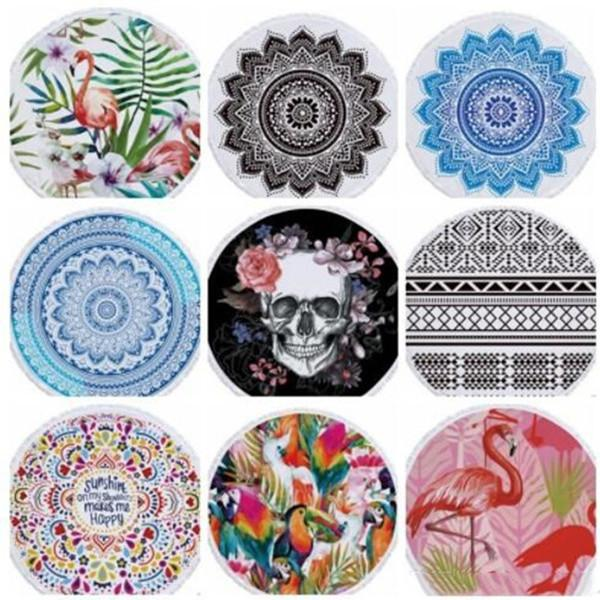 best selling Beach Chiffon Blanket Women Shawl National Style Cartoon Printed Round Beach Blanktets Summer Plage Picnic Rug Yoga Mat WY436Q-1