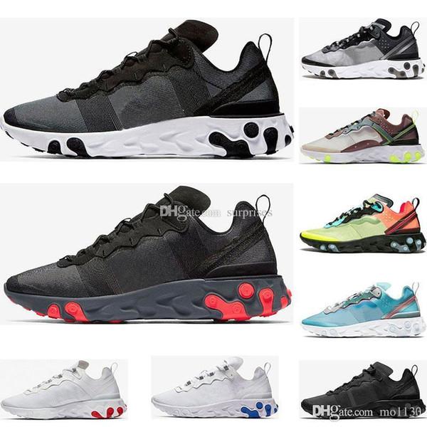 2019 React Element 87 55 chaussures de course pour homme, femme blanc noir Royal Tint Desert Sand designer sport respirant baskets taille 36-45