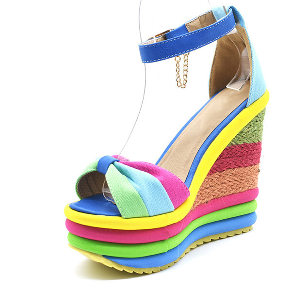 2019 Summer Ankle Strap Sexy Bohemia Rainbow Peep Toe Platform Sandals for Women Ladies Blue Denim Wedges Sandal