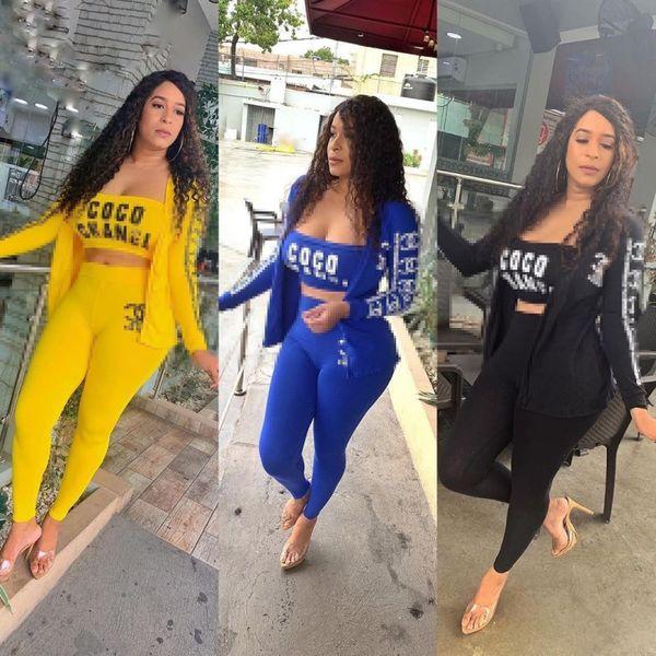Las mujeres tres piezas conjunto de trajes de ropa deportiva chándal manga larga chaqueta de jogging Deporte + Conjuntos de sujetador + polainas clubwear mujeres klw2464 ropa