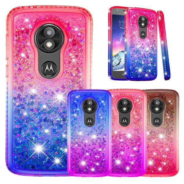Gradient Glitter Liquid Quicksand Floating Bling Diamond Sparkle Soft TPU Case For MOTO G6 Plus E5 Play LG G7 Google Pixel 3 XL