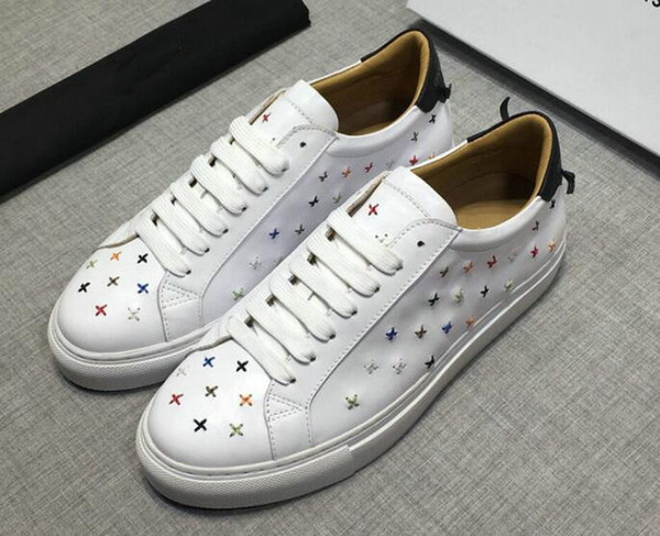 Original Box New designer mens embroidery sneakers LUX brand men white low runner shoes Hombre 38-44