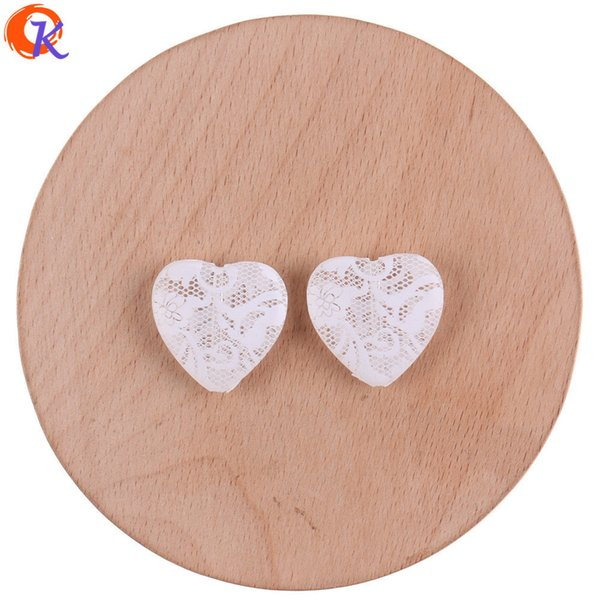 wholesale 23*23mm 100Pcs Acrylic Beads/Jewelry Accessories/Heart Shape/White Flower Print Bead/Hand Made/Earring Findings