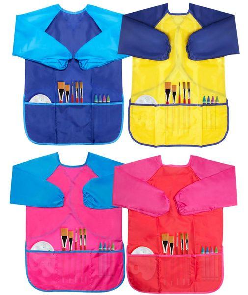 Kids Waterproof Art Craft Apron Painting Apron Art Aprons Portable Long Sleeve Waterproof Kids Children Smock