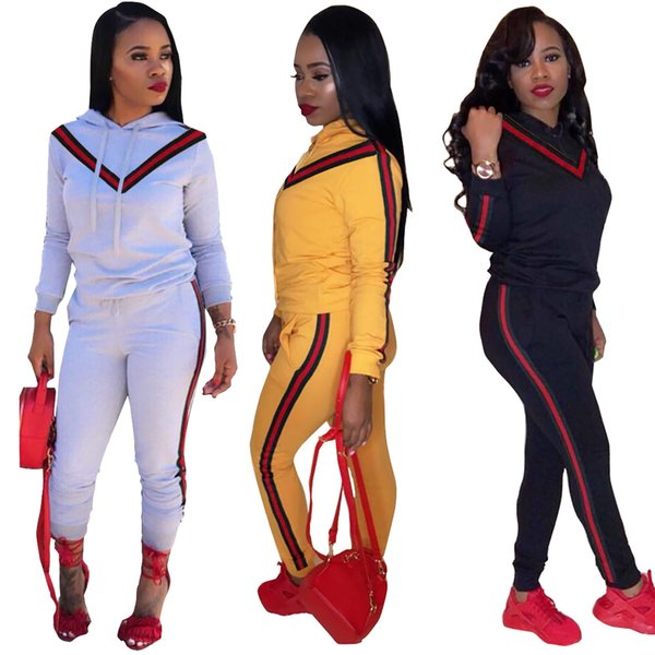Women Clothes Two Piece Sets 2 piece woman set womens sweat suits joggers Plus Size Women models Striped ribbon hooded sweater two-piece