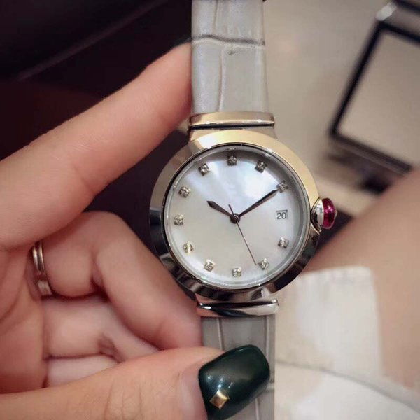 Elegant 33MM Quartz Movement Womens Watches Ladies Watch Mother Of Pearl White Dial Diamond Hour Markers With Grey Leather Band