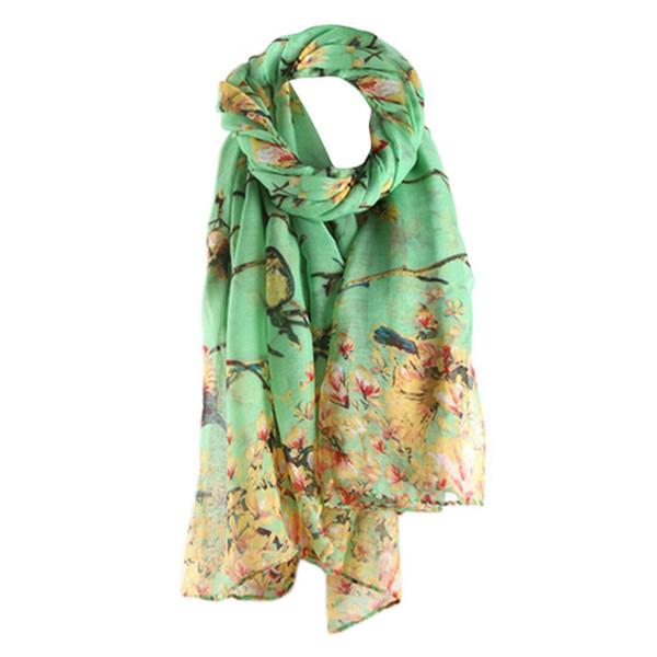 Les femmes branchent des écharpes d'oiseaux d'impression fleur foulard dames foulard accessoires de mode doux populaires 80x180cm
