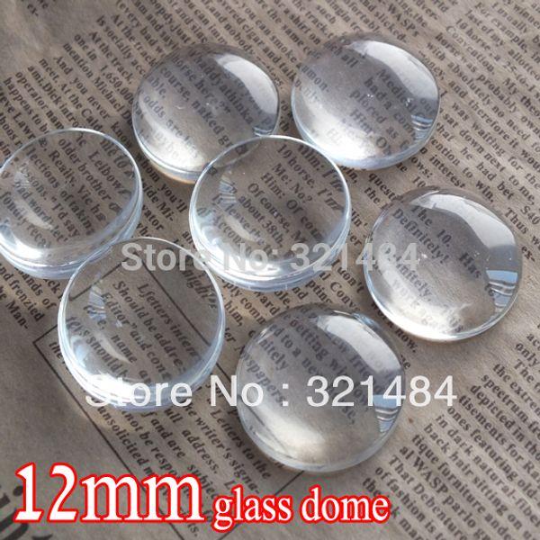 оптом 500 шт. / лот 12 мм плоская круглая прозрачного стекла кабошон лоток подвеска крышка стеклянный купол плитка уплотнения