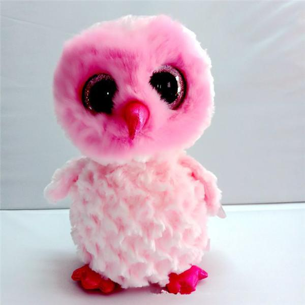 Ty Beanie Boos 25cm Pink owl Plush Big-eyed Stuffed Animal Collectible Doll Toys for children