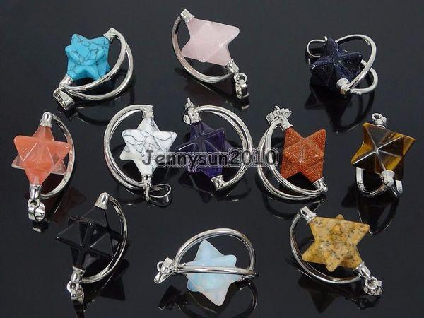 Natural Gems Stone Reiki Chakra Merkaba Healing Pendant Charm Beads Silver Plated Jewelry Design 10Pcs/Pack