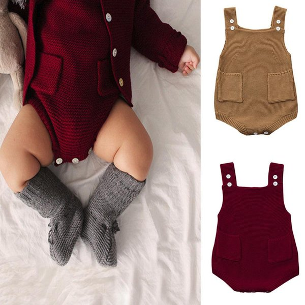 New Newborn Baby Girls boys sweaters Solid Knitted Toddler Pocket Sleeveless Jumpsuit Clothes Romper Outfit Autumn Winter warmNewborn
