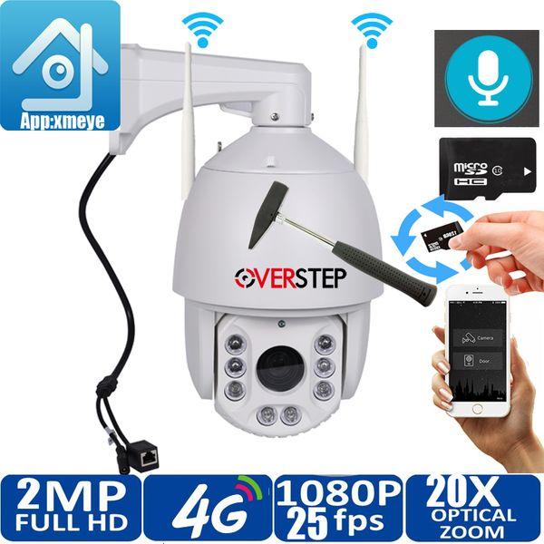 4G Уличная беспроводная камера безопасности 4G WIFI 2MP HD Двухстороннее аудио PTZ 20-кратный оптический зум ИК 150 м ONVIF PTZ IP-камера Слот для SD-карты
