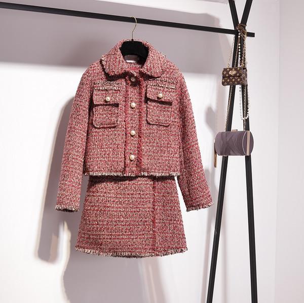 Yeni moda tasarım kadın bahar şarap kırmızı turn down yaka inci boncuk OL tüvit yün kısa ceket ve a-line etek twinset elbise suit
