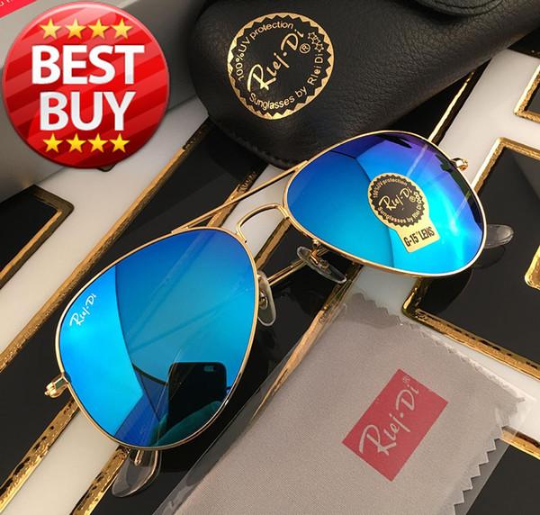 Atacado Piloto Estilo Óculos De Sol Da Marca Designer de Óculos De Sol para As Mulheres Dos Homens de Metal Frame Flash Espelho Lente De Vidro Moda Óculos De Sol Gafas