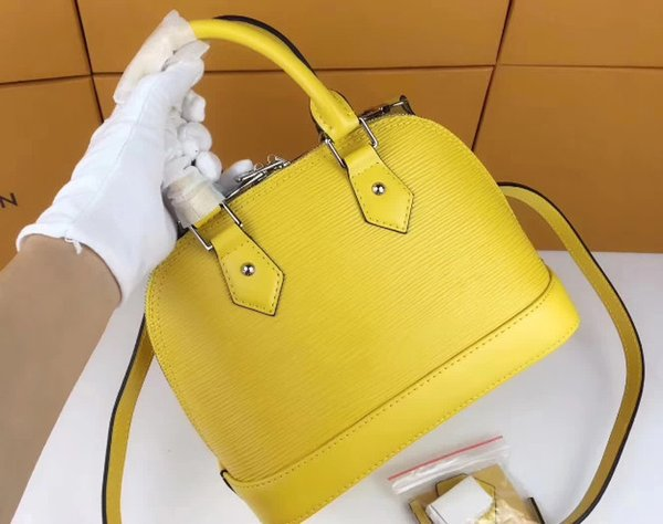 2019 uluslararası büyük marka deri oluklu küçük kabuk bayan çanta, parlak renk, mat Tasarım Deri bayan çantası 40301-11