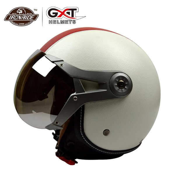 GXT PU Leather Men Motorcycle Helmet Open Half face Casco Bike Bicicleta Scooter Mujer Moto Casco Capacete Off-road