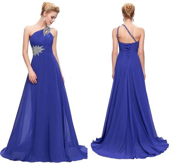 Barato Royal Blue Sexy Un hombro Gasa Vestidos de dama de honor Largo Plisado Con cuentas Vestidos de noche formales Vestidos de invitados de boda Maids of Honor