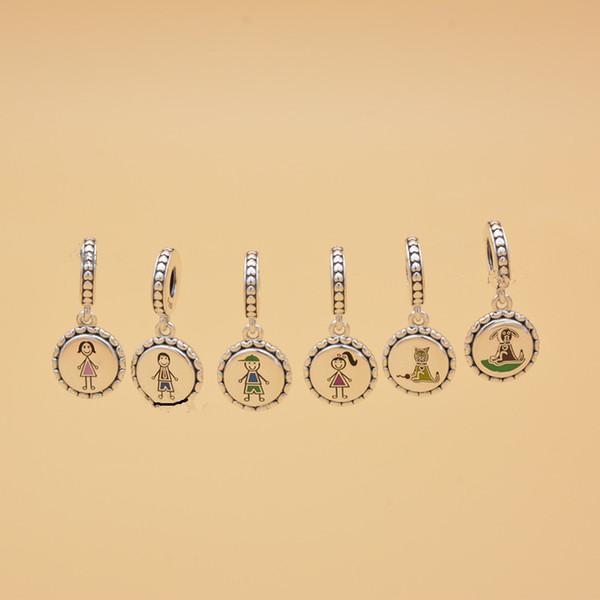 Familie Silber Strichmännchen Charme gehören Mutter Junge Mädchen Tier Fit europäischen Stil Armbänder Halskette Frau Schmuck TTA993
