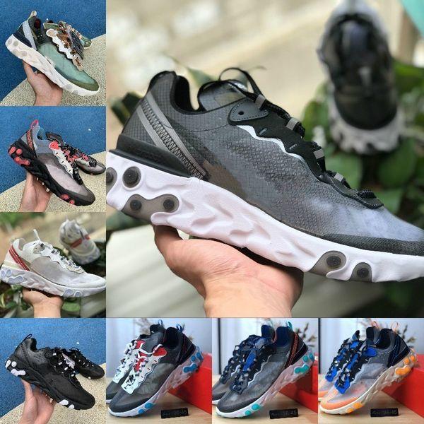 Hot Sale 2019 React Element 87 Running Shoes For Men Women White Black NEPTUNE GREEN Blue Mens Trainer Design Breathable Sports Sneakers