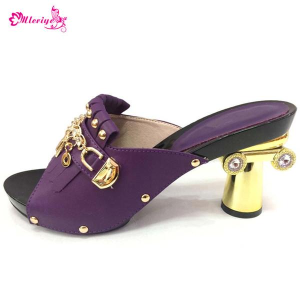 New Arrival African Purple Slippers Summer High Heels Sexy Pumps Elegant Italian High Heel Women Pumps Women Wedding Party Shoes