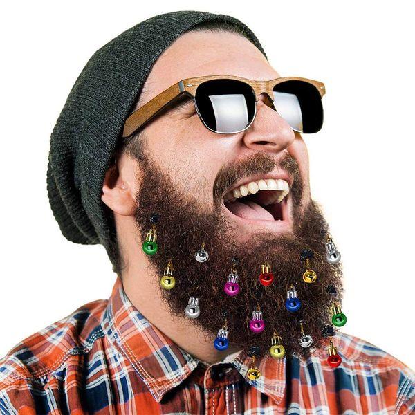 16x Christmas Beard Ornaments Facial Hair Baubles Round Bulb Clips Christmas Santa Claus Beard Decoration for Men Easy Attach