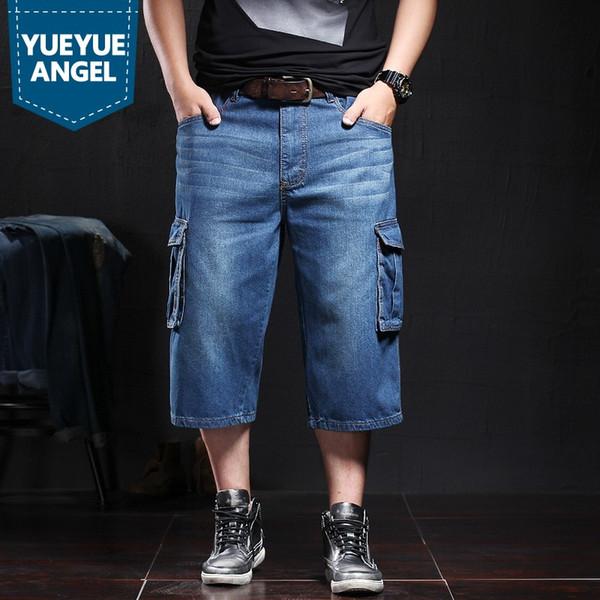 Mode lässig Herren Wadenlangen Jeans Shorts Herren Sommer Baggy Pockets Denim Shorts Plus Size gerade Cargo Pants männliche Kleidung