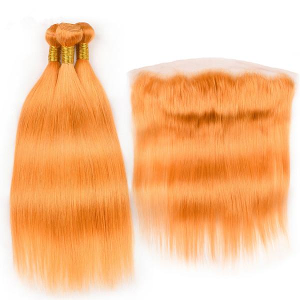 Pure Orange Indian Human Hair Weave Bundles with Frontal Colored Orange Straight Virgin Hair 3Bundles with Full Frontal 13x4 Lace Closure