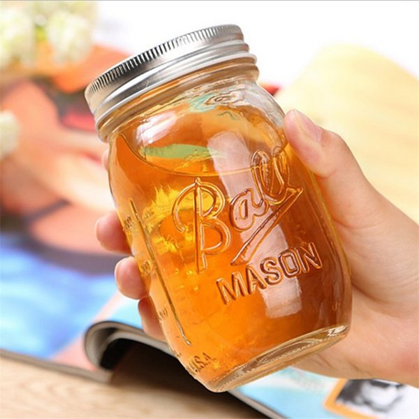 Glass Mason Jar Mug with Lid and Straw Summer Ice Cream Fruit Cold Drinking Water Jars Juice Cup