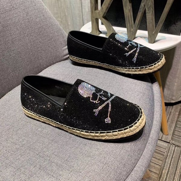 39-44eu alta calidad 2019 primavera verano Lujo Moda Brillante Rhinestones Mocasines para hombre alpargatas zapatos pisos con caja