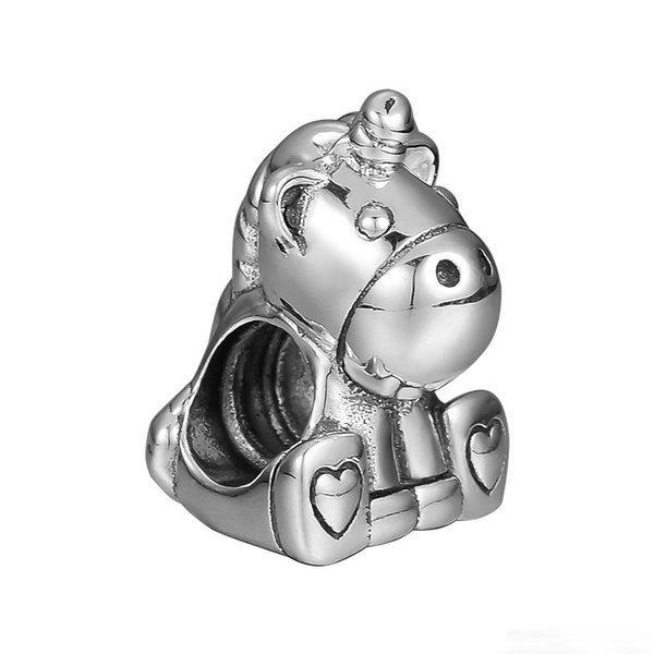 925 sterling silver bead Fits for pandora Bracelets for Jewelry Bruno the Unicorn Charm Bead Charms Making DIY free shipping