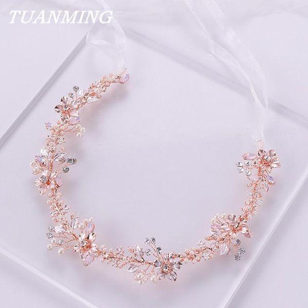 Ювелирные изделия розового золота перлы цветка оголовье Tiara Свадебные принцессы оголовье волос Кристалл Pearl Невеста головной убор