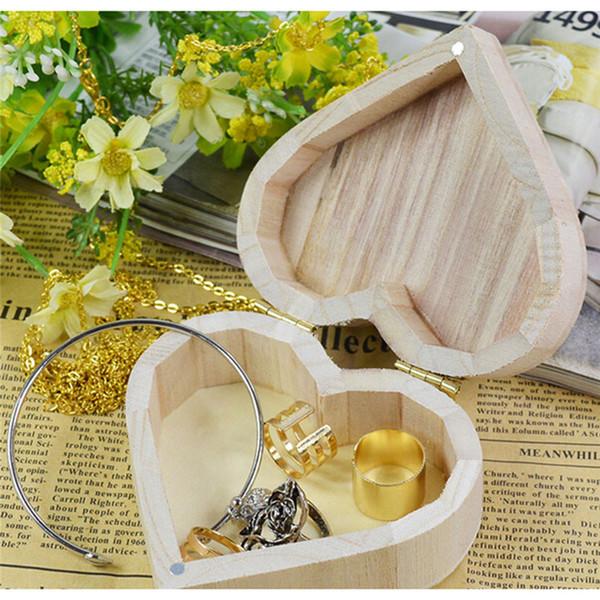 New Arrive Storage Boxes Heart Shape Wood Box Jewelry Box Wedding Gift Home Storage Bin Earrings Ring IC880552