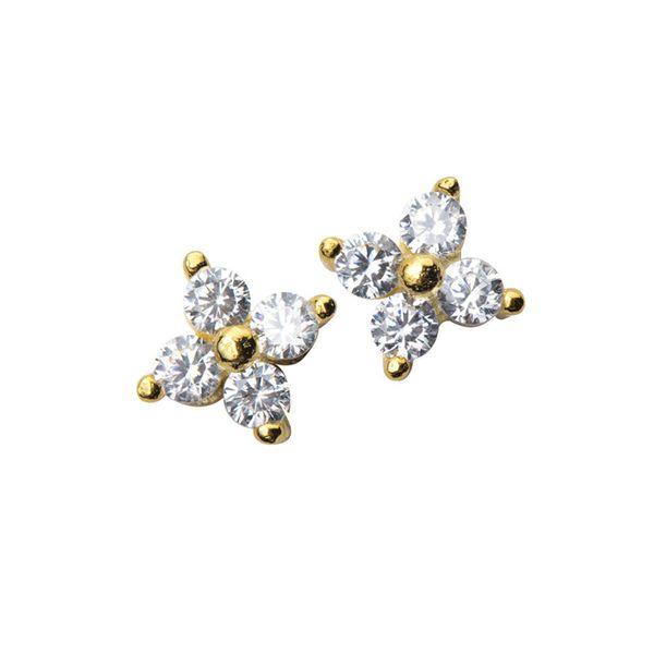 New 100% 925 Sterling Silver Cute Girl Jewelry Women Ear Stud Tiny Cz Flower Small Minimalist Flower Stud Earrings For Women Z4