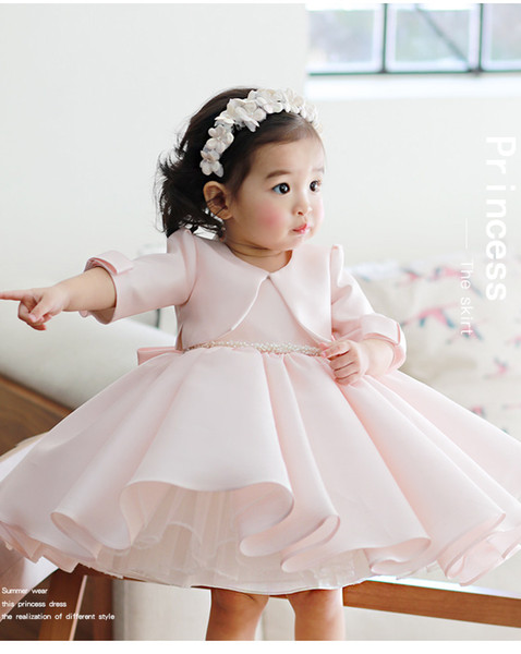 Pearl Pink Jewel Beautiful Two Pieces Satin Wedding Flower Dresses Knee-Length Lovely Princess Girls Pageant Gown Party Gowns With Jacket