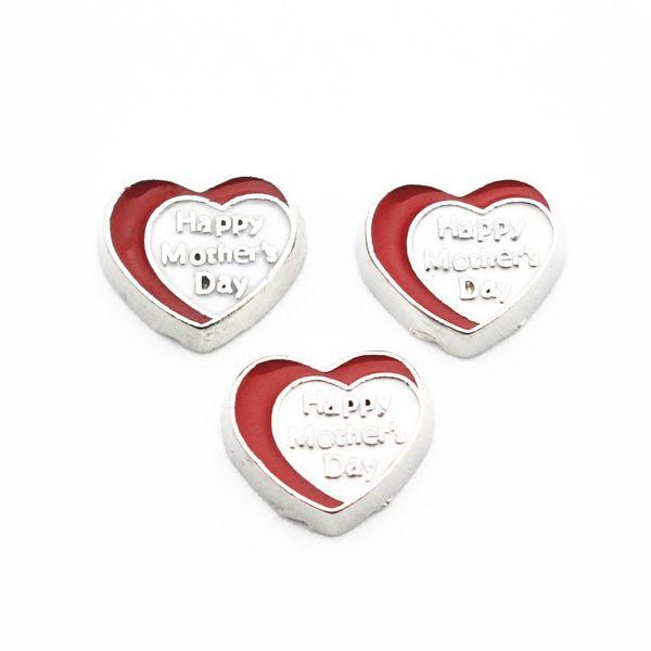 El más nuevo 10 unids / lote corazón Aleación de plata feliz día de la madre encantos flotantes de cristal flotante medallones colgante DIY joyería