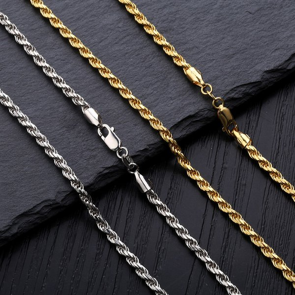 "18K Gold & White Gold Plated 925 Sterling Silver Twist Chain Necklace 3mm 18"" 22"" Rope Chain Hip Hop Rapper Jewelry Gifts For Men and Women"