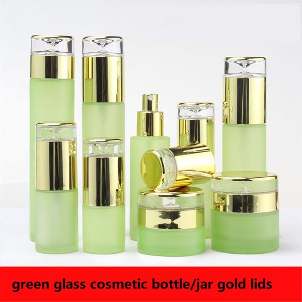 Novo produto 300 pcs vidro verde 20/30/40/60/100/120 ml / soro / loção / emulsão / spray frasco 30/50g jar com tampas de ouro