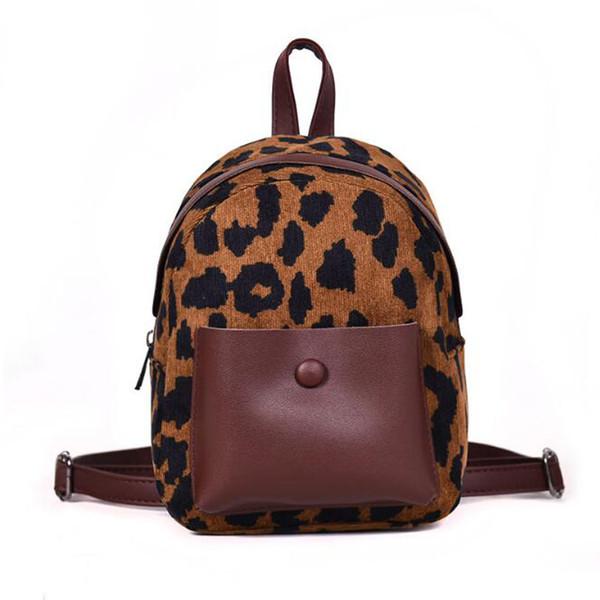 أزياء المرأة ليوبارد bookbags القطيفة البسيطة حقيبة المدرسة الطالب لل مراهق فتاة بو الجلود عارضة لطيف الظهر