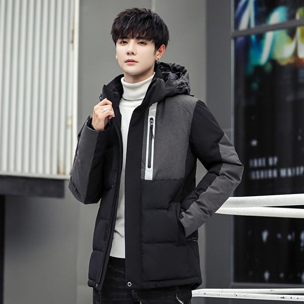 Erkek Kapşonlu Ördek ceket Aşağı Man Patchwork Kalın Kış Down Coats Erkek Moda Yüksek Kalite Paltolar Sıcak Kabanlar tutun
